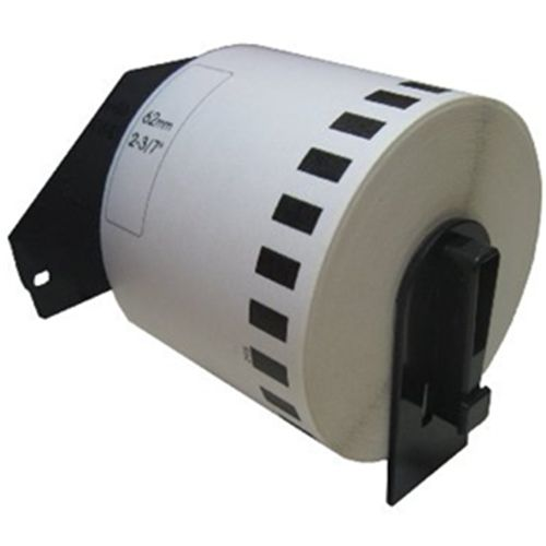 62mm 2.4/'/' Black on White Continuous Length Paper Label for Brother DK2205