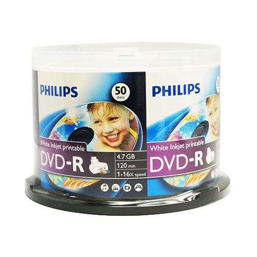 graphic about Printable Dvds named Philips Printable DVD-R, 50 personal computers/pk Cake