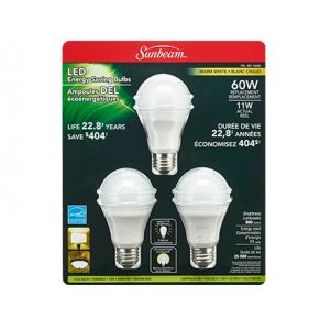 Sunbeam LED A19 11W 800 Lumens 2700K Dimmable Warm White Bulb 3 Pack