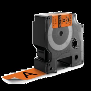 Dymo 1805427 IND 24mm (1 Inch Vinyl Black on Orange Tape, Compatible