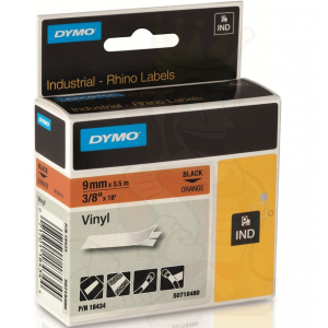 Dymo 18434 IND 9mm (3/8 Inch Vinyl Black on Orange Tape, Compatible