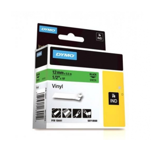 Dymo 18441 IND 12mm (1/2 Inch Vinyl Black on Green Tape, Compatible