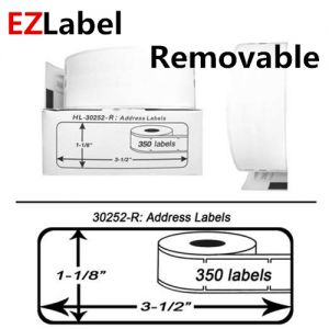 DYMO 30252 Removable Address Labels, 1-1/8 Inch x 3-1/2 Inch, 350 Labels per roll, 2 rolls, Compatible