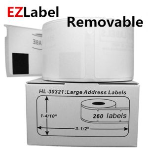 DYMO 30321 LabelWriter Removable Labels, White, 1-4/10 Inch x 3-1/2 Inch, 2 Rolls, 260 Labels/Roll, Compatible