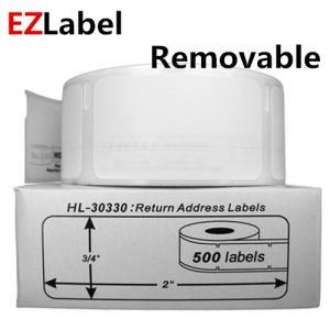 DYMO 30330 Removable Return Address Labels, 3/4- by 2-inch, White, roll of 500 labels, Compatible
