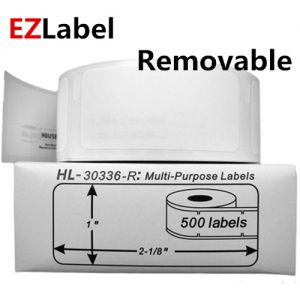 DYMO 30336 Removable Multi-Purpose Labels, 1- by 2 1/8-inch, Roll of 500 labels, compatible