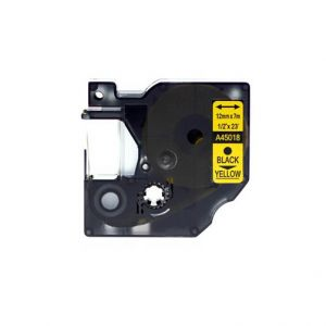 Dymo D1 45018 12mm (0.5 Inch) Black on Yellow Compatible Label Tape