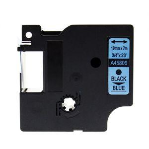 Dymo 45806 19mm Black On Blue D1 Label Tape, Compatible