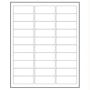 Laser Labels White 2 5/8 Inchx1 Inch 30 labels pre sheet, Minimum Order Qty By 50, Qty Increment By 50