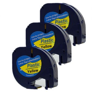 DYMO 91332  LetraTag Label Tape, 12mm (1/2 Inch) by 13' Black on Yellow Plastic, 3 Packs Compatible