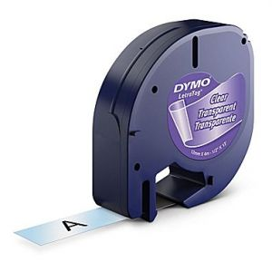 DYMO 16952 LetraTag Compatible Clear Label 1/2 Inch Width x 13 ft Length Plastic