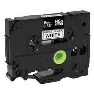 Brother HGe221 High Grade 9mm Black on White P-touch Label Tape Length of 8m Compatible