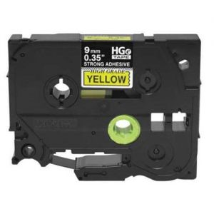Brother HGeS621 High Grade 9mm Black on Yellow P-touch Label Tape Length of 8m Compatible