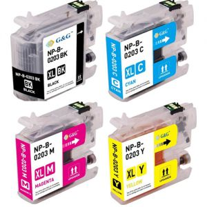 Brother LC203 BK/C/M/Y Compatible Ink Cartridge 4 Color Combo High Yield