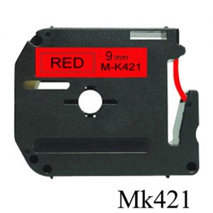 Brother MK421 9mm Black On Red P-Touch Label Tape, Compatible