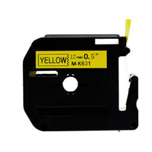 Brother MK631 12mm Black On YellowP-Touch Label Tape, Compatible