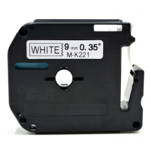 Brother MK221 Black on White P-Touch 9mm Label Tape, Compatible
