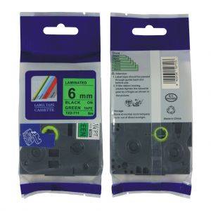 Brother TZe-711 P-touch Label Tape, 6mm (0.25 Inch), Length of 8M,Black on Green, Compatible