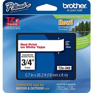 Brother TZe-242 18mm (0.75 Inch), Length of 8M, Red on White Label Tape Original