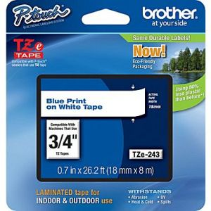 Brother TZe-243 18mm (0.75 Inch), Length of 8M, Blue on White Label Tape Original