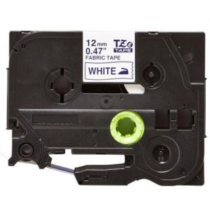 Brother TZe-FA3 Label Tape, 12mm (0.5 Inch), Length of 3M, Navy Blue on White Fabric Iron-on Compatible
