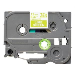 Brother TZe-MQG35 12mm ( 1/2 In. ) White on Lime Green P-Touch Tape Compatible