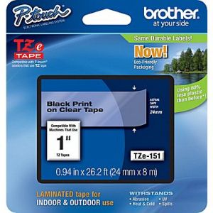 Brother TZe-151 24mm (1 Inch), Length of 8M, Black on Clear Label Tape Original