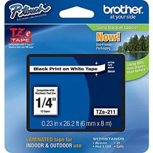 Brother TZe-211 6mm (0.25 Inch), Length of 8M, Black on White Label Tape,Original