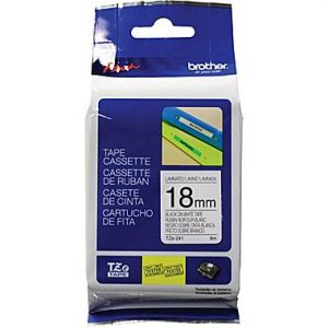 Brother TZe-241 18mm (0.75 Inch), Length of 8M, Black on White Label Tape, Original
