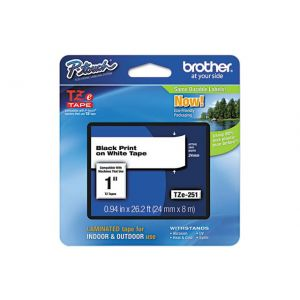Brother TZe-251 24MM (1 Inch), Length of 8M, Black on White  Label Tape, Original