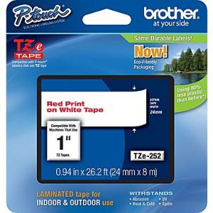 Brother TZe-252 24mm (1 Inch) , Length of 8M, Red on White Label Tape Original