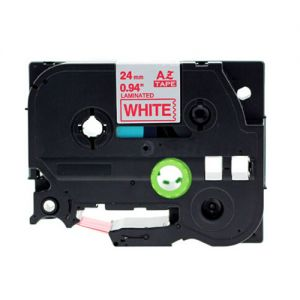 Brother TZe-252 24mm (1 Inch) Compatible , Length of 8M, Red on White Label Tape