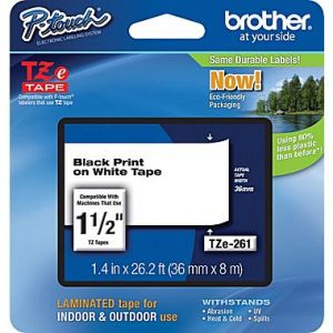 Brother TZe-261 36mm (1.5 Inch) , Length of 8M, Black on White Label Tape Original