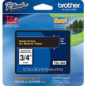 Brother TZe-344 18mm (0.75 Inch), Length of 8M, Gold on Black Label Tape Original