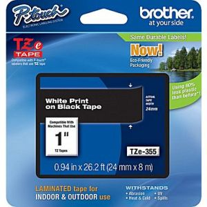 Brother TZe-355 24mm (1 Inch), Length of 8M, White on Black Label Tape Original