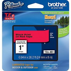Brother TZe-451 24mm (1 Inch), Length of 8M, Black on Red Label Tape Original