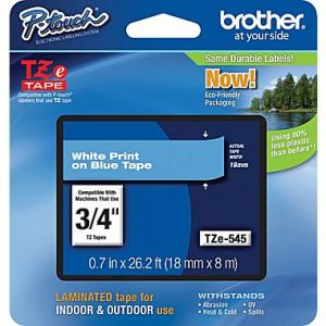 Brother TZe-545 18mm (0.75 Inch), Length of 8M, White on Blue Label Tape Original