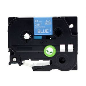 Brother TZe555 24mm, Length of 8M White On Blue P-Touch Label Tape, Compatible
