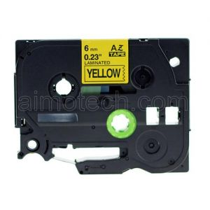 Brother TZe-611 P-touch Label Tape, 6mm (0.25 Inch), Length of 8M, Black on Yellow, Compatible