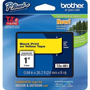 Brother TZe-651 24mm (1 Inch), Length of 8M, Black on Yellow Label Tape Original