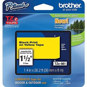 Brother TZe-661 36mm (1.5 Inch), Length of 8M,  Black on Yellow Label Tape Original