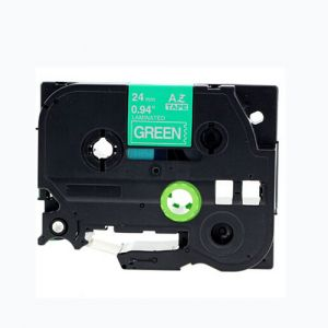 Brother TZe-755 24mm (0.94 Inch), Length of 8M, White on Green Compatible Label Tape