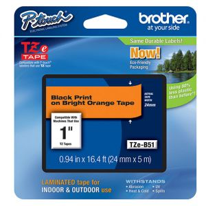 Brother TZE-B51 Original Label Tape, 24mm, Length of 8M Black on Fluorescent Orange