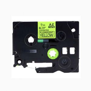 Brother TZe-C21 P-Touch Label Tape, 9mm (0.375 Inch), Length of 8M Black on Fluorescent Yellow, Compatible