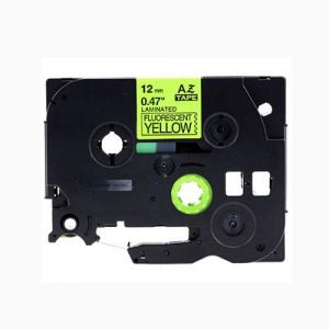 Brother TZe-C31 P-Touch Label Tape, 12mm  (0.5 Inch), Length of 8M Black on Fluorescent Yellow, Compatible