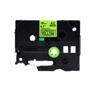 Brother TZe-C41 P-touch Label Tape, 18mm (0.75 Inch), Length of 8M, Black on Fluorescent Yellow, Compatible