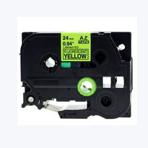 Brother TZe-C51 P-Touch Label Tape, 24mm  Length of 8M Black on Fluorescent Yellow, Compatible