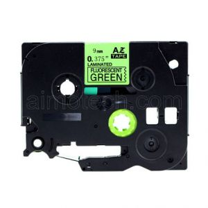 Brother TZe-D21 9mm (0.375 Inch), Length of 8M, Black on Fluorescent Green Compatible Label Tape