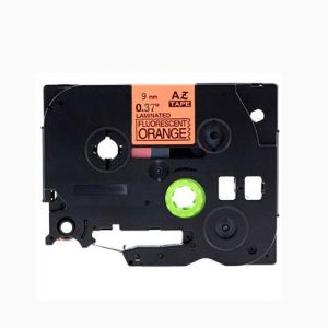 Brother TZe-B21 P-Touch Label Tape, 9mm (0.375 Inch), Length of 8M Black on Fluorescent Orange, Compatible