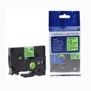 Brother TZe-D31 12mm (0.5 Inch), Length of 8M, Black on Fluorescent Green Compatible Label Tape